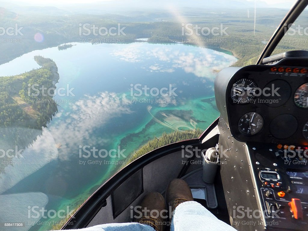 Tuquoise Lake Helicopter Aerial View stock photo