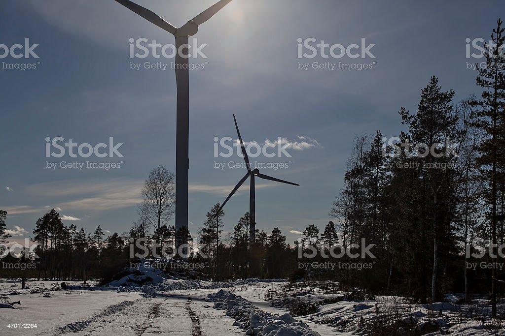 Turbine and sun royalty-free stock photo