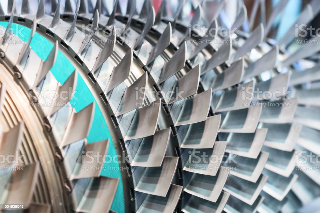 Turbine blades closeup. Shallow depth of field stock photo