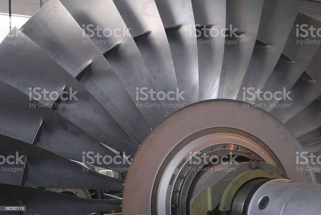 turbine blades of a jet engine aircraft stock photo