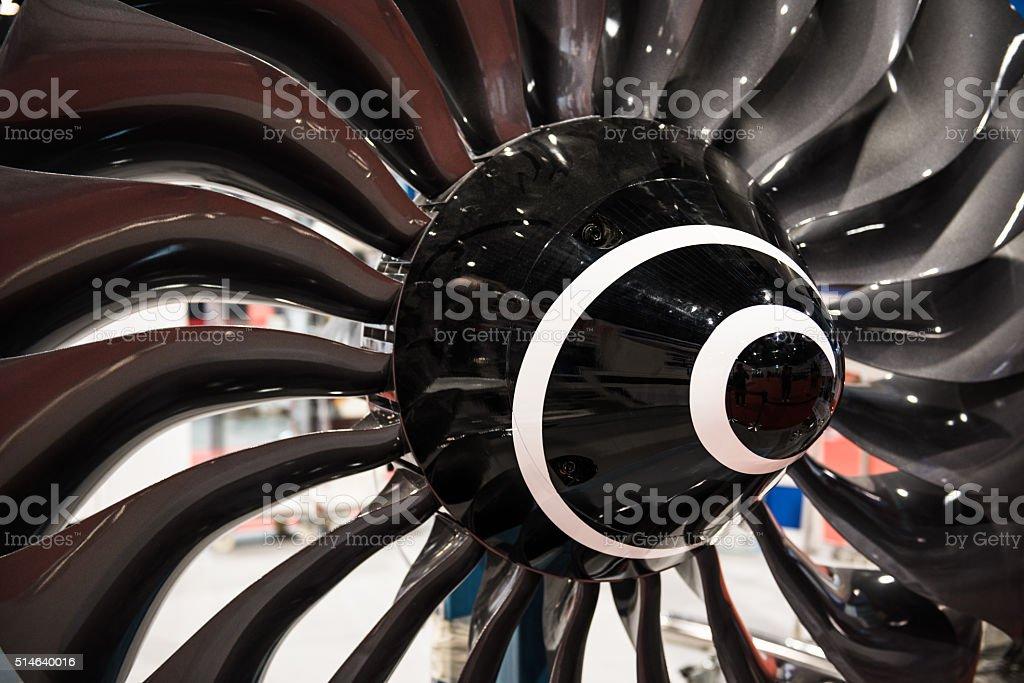 turbine blades of aircraft jet engine stock photo