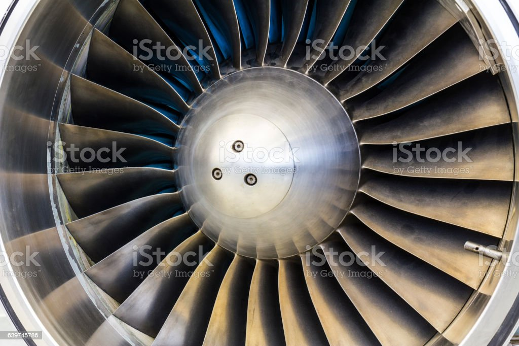 Turbine Blades of an Airplane Jet Engine I stock photo