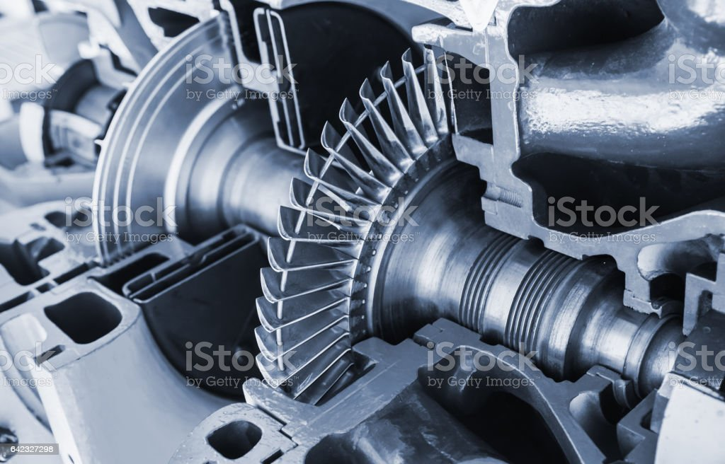 Turbine structure model with cross section stock photo