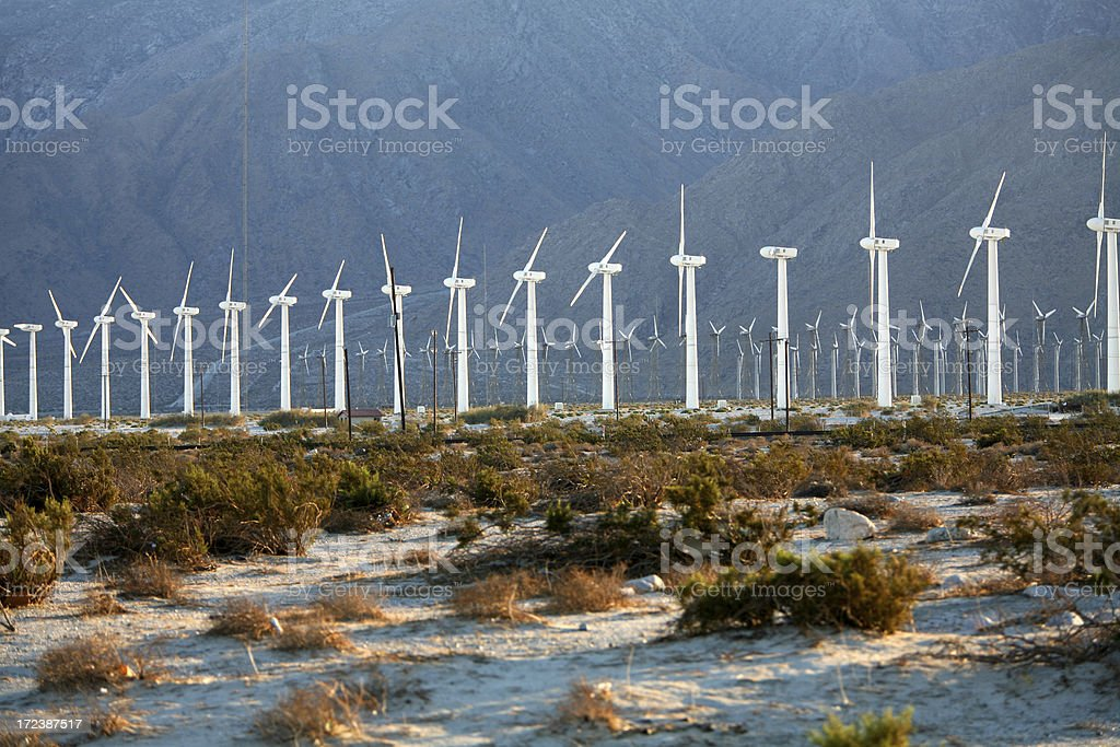 Turbine Windmills All In A Row royalty-free stock photo