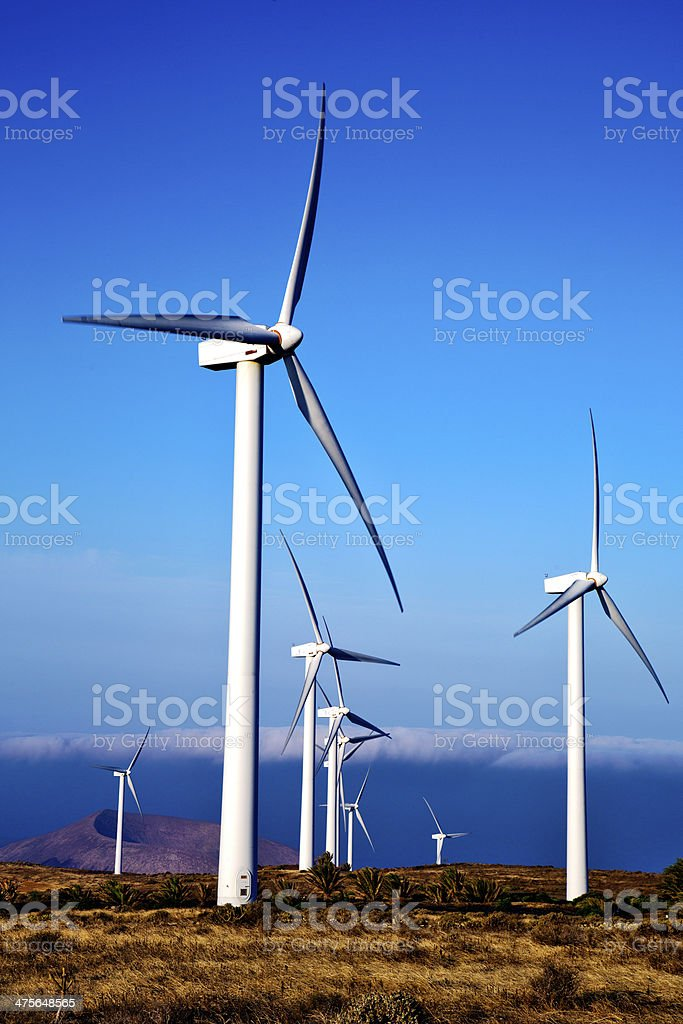 turbines and the sky in  isle of lanzarote spain royalty-free stock photo