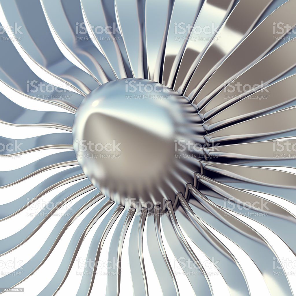 Turbo jet engine blades close-up. 3d illustration stock photo