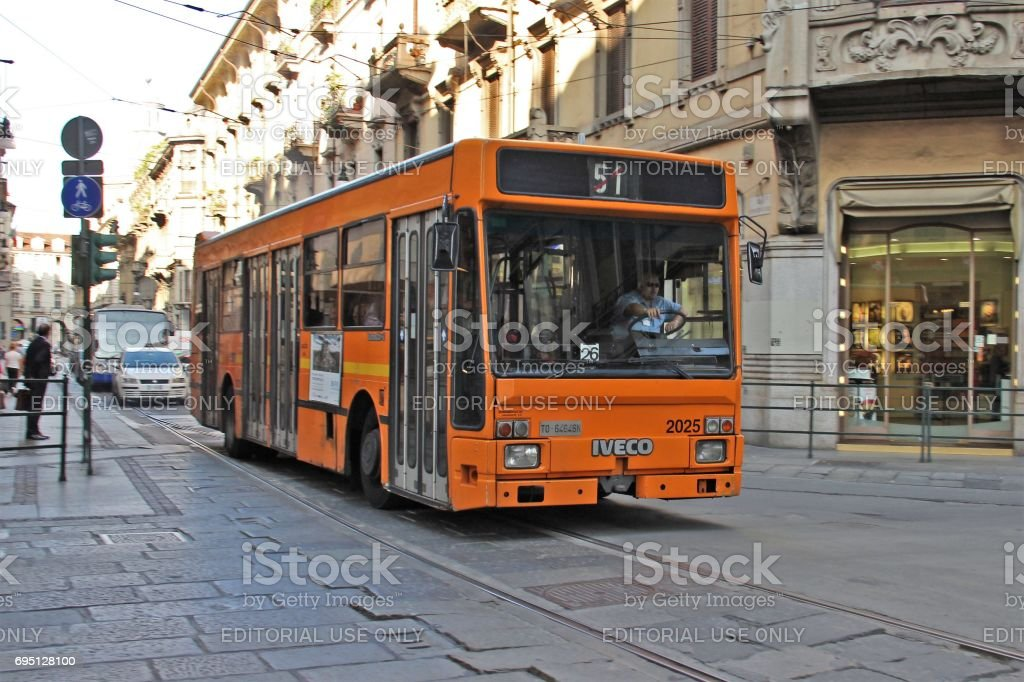 IVECO TurboCity-U on the street in Turin stock photo