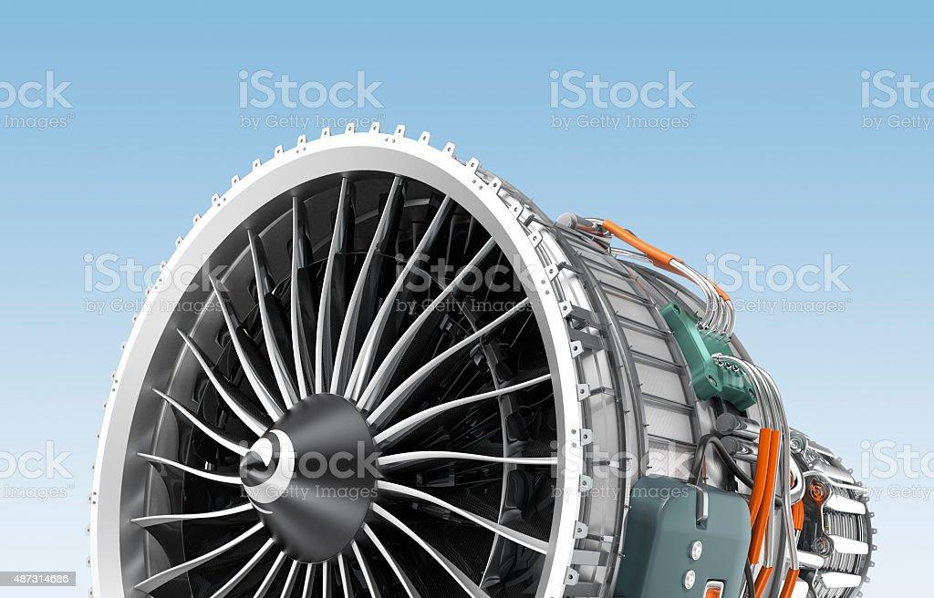 Turbofan jet engine isolated on blue background. stock photo