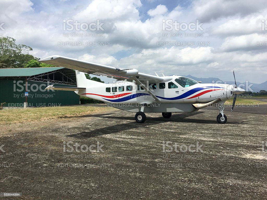 turboprop airplane Cessna 208B in Costa Rica stock photo
