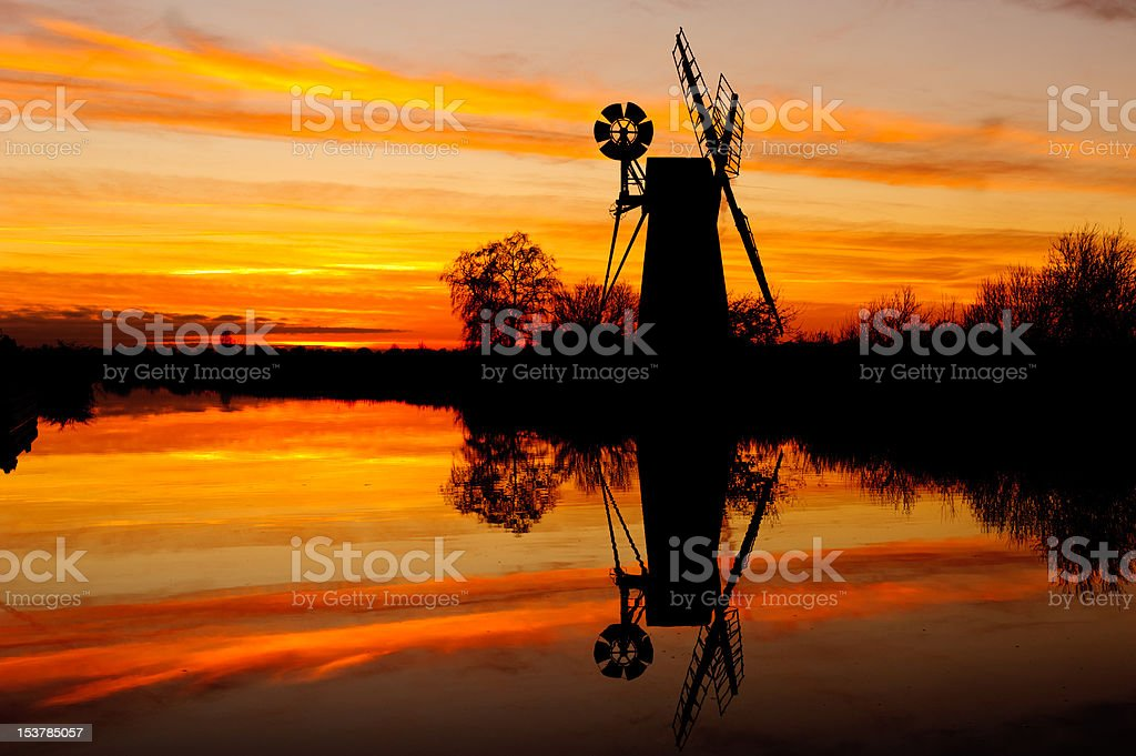 Turf Fen wind pump at sunset stock photo