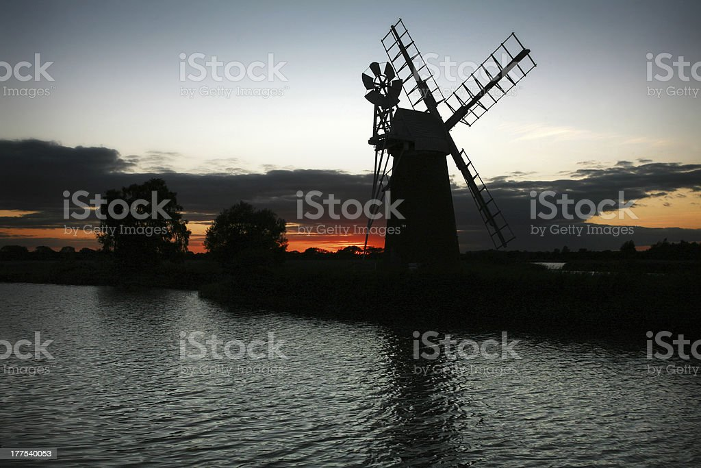 Turf Fen Wind Pump stock photo