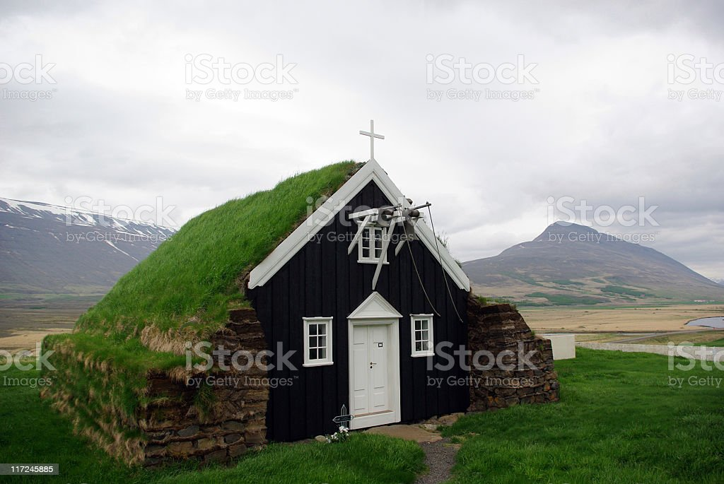 Turf Roofed Church, Iceland royalty-free stock photo