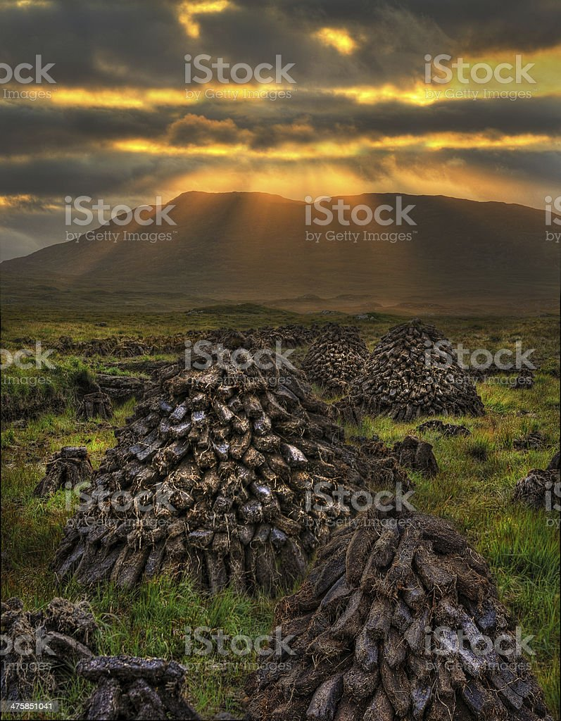 Turf Stacks, Connemara stock photo