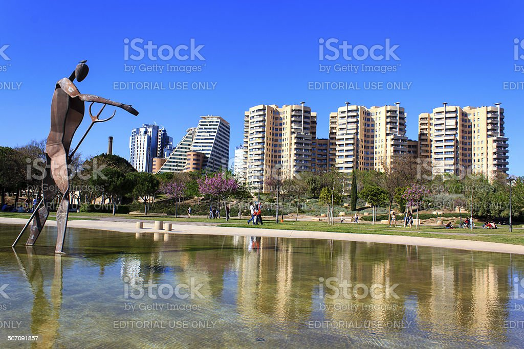 Turia gardens in Valencia stock photo