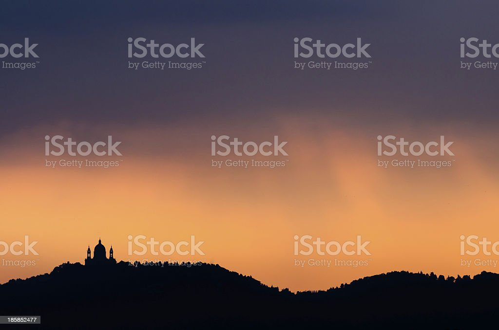Turin, Basilica of Superga and hill at dawn stock photo