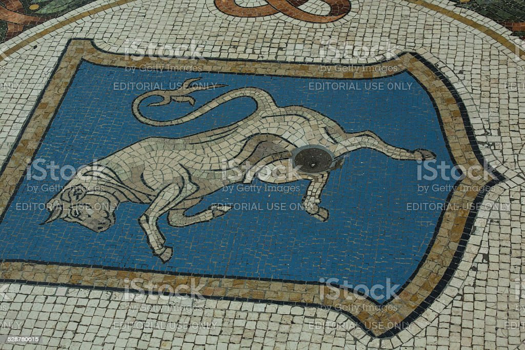 Turin Bull Crest in Milan Galleria Vittorio Emanuele II stock photo