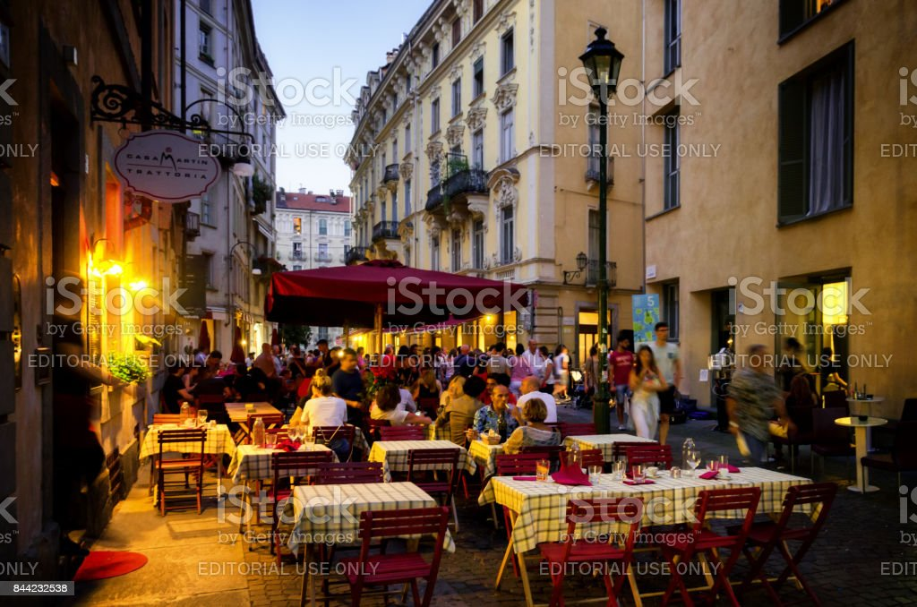 Turin, evening at the Quadrilatero stock photo