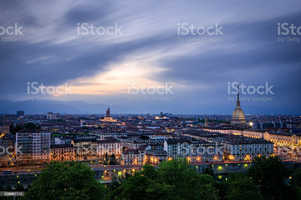 Turin (Torino), high definition panorama at twilight1 stock photo