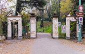 Turin, Italy. Entrance of the public park of Villa Genero
