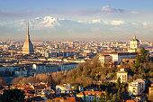 Turin (Torino), landscape with Mole Antonelliana and Alps