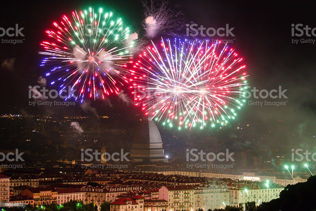 Turin (Torino), Mole Antonelliana and fireworks party stock photo