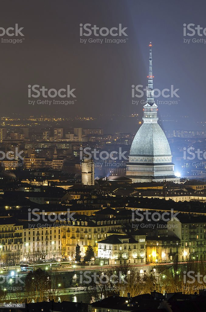 Turin (Torino), Mole Antonelliana at night stock photo