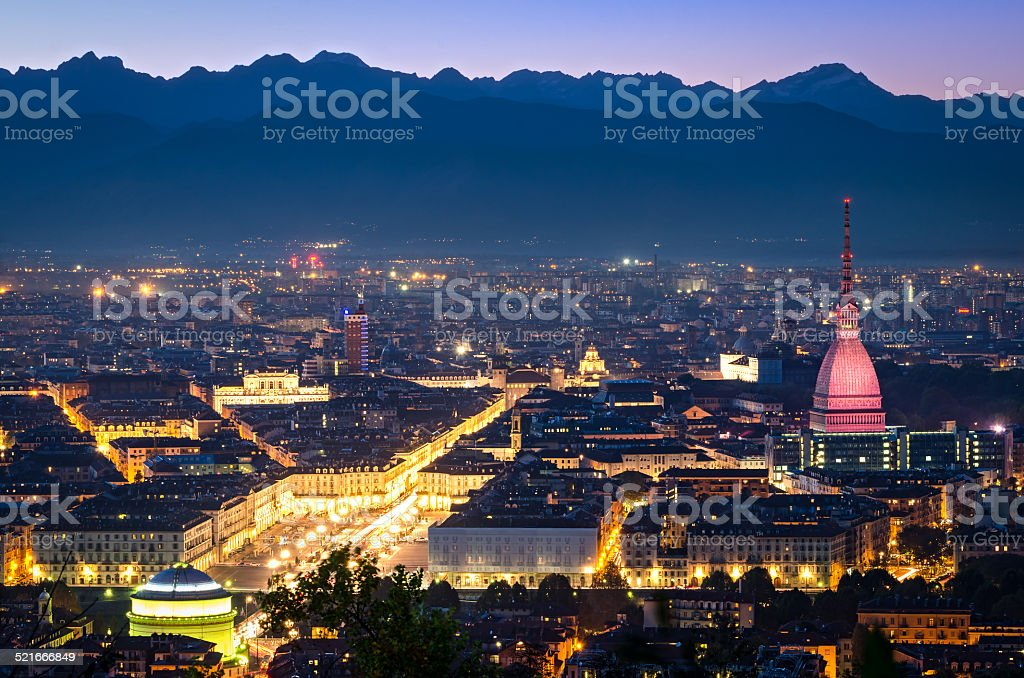 Turin (Torino), panorama at night stock photo