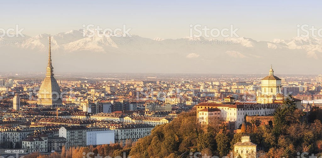 Turin (Torino), panorama at sunset stock photo