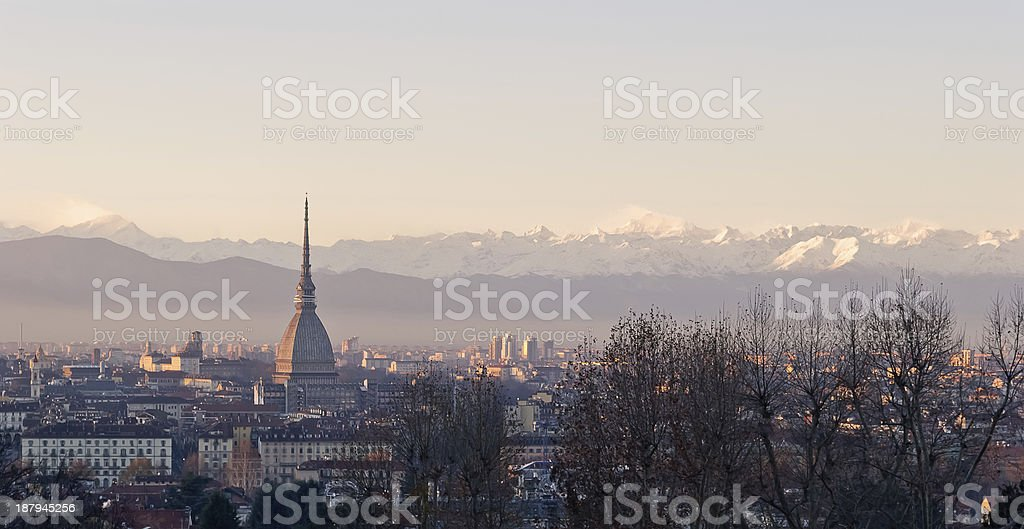 Turin (Torino), panorama at sunset with Alps and Mole stock photo