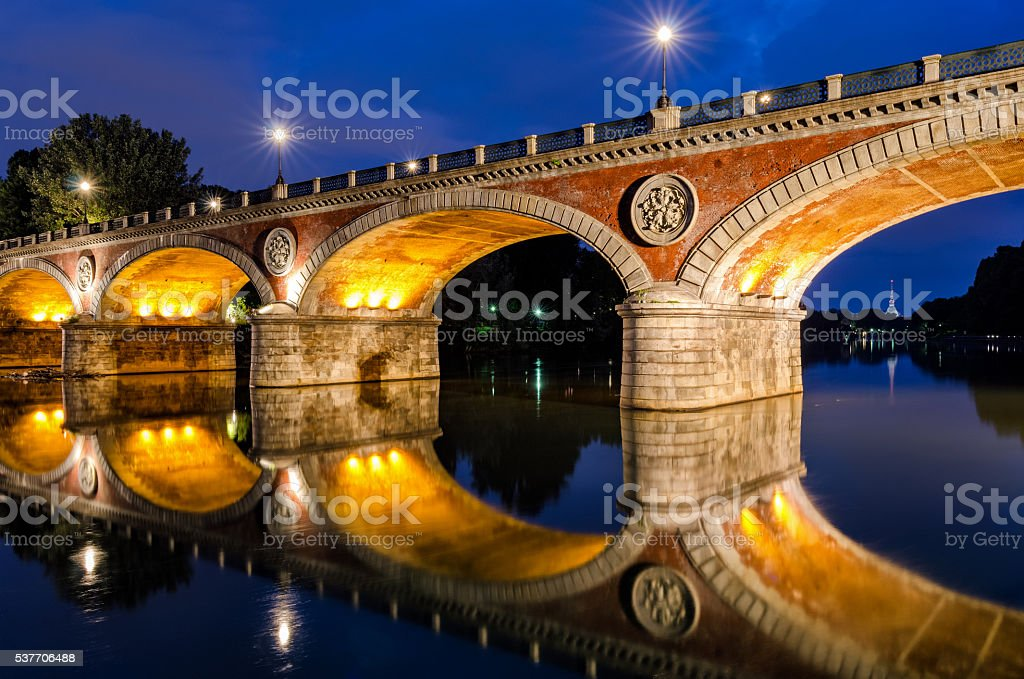 Turin (Torino) Ponte Isabella and river Po at blue hour stock photo