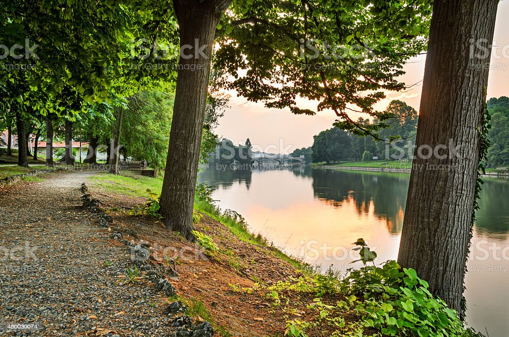 Turin (Torino), river Po and Valentino Park stock photo