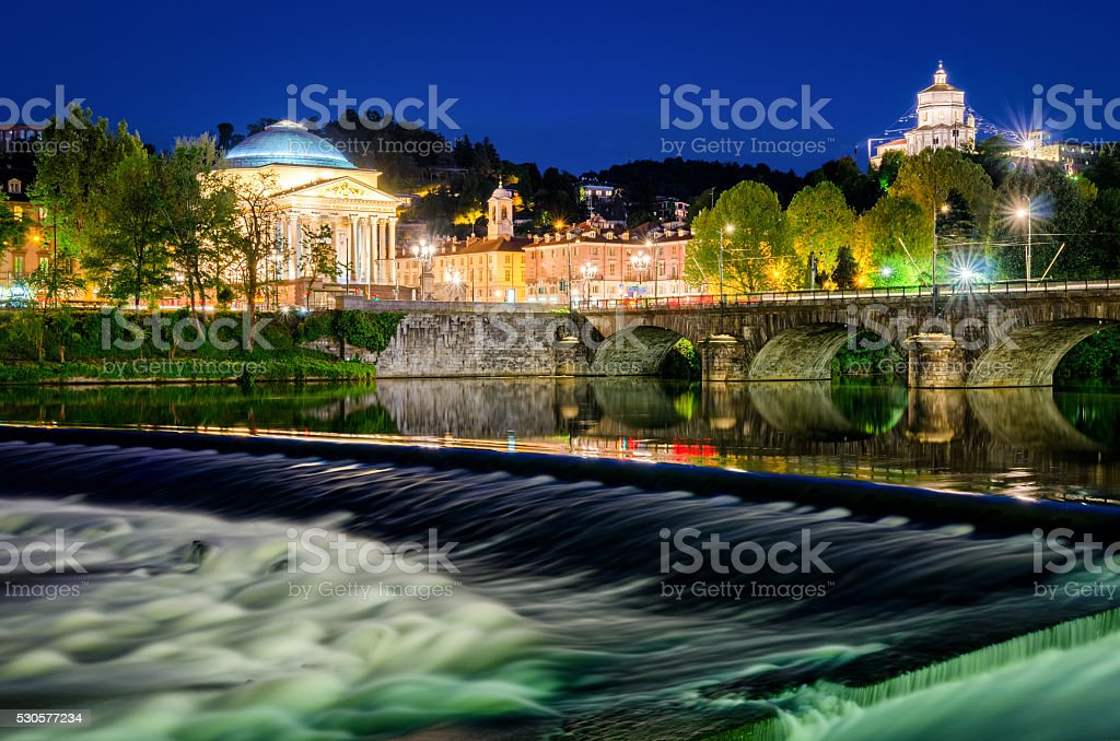 Turin (Torino) river Po Grand Madre and Monte dei Cappuccini stock photo