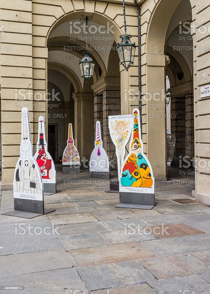 Turin. Some artists have interpreted creatively the Mole Antonelliana stock photo