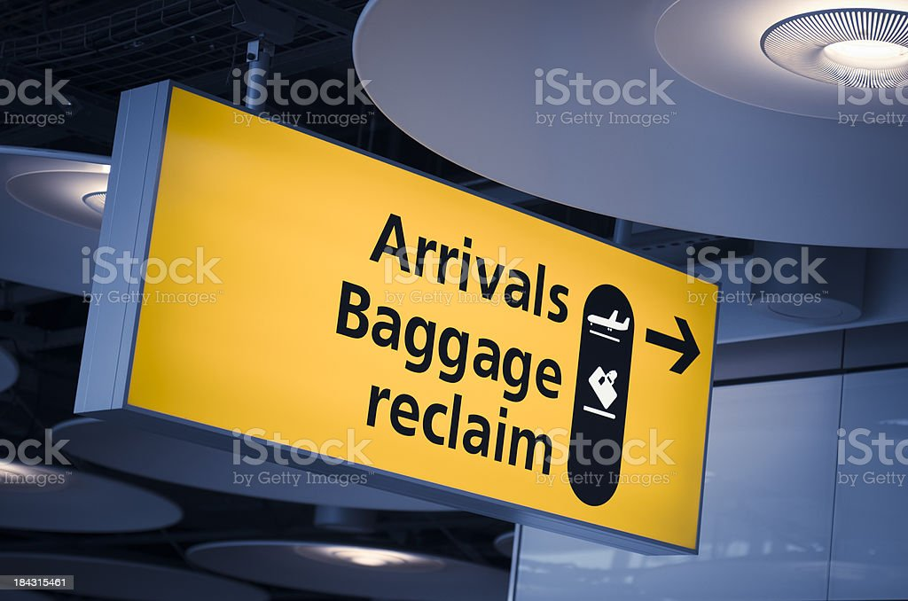 turist information and  baggage arrivals signs on Heathrow airport stock photo