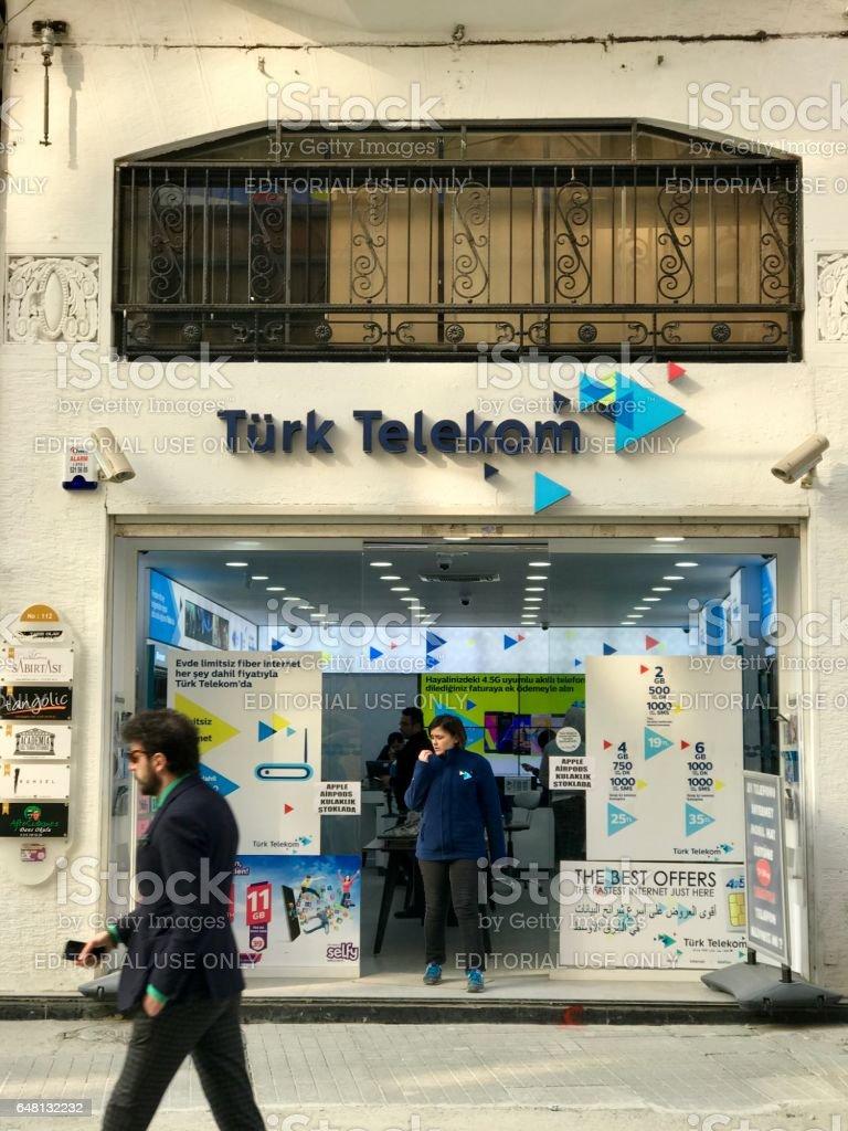Turk Telekom store in Beyoğlu District stock photo