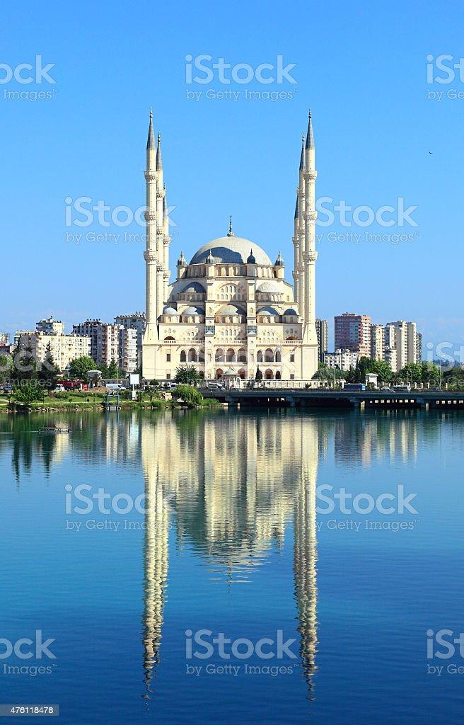 Turkey, Adana, Sabanci Central Mosque and Seyhan River stock photo