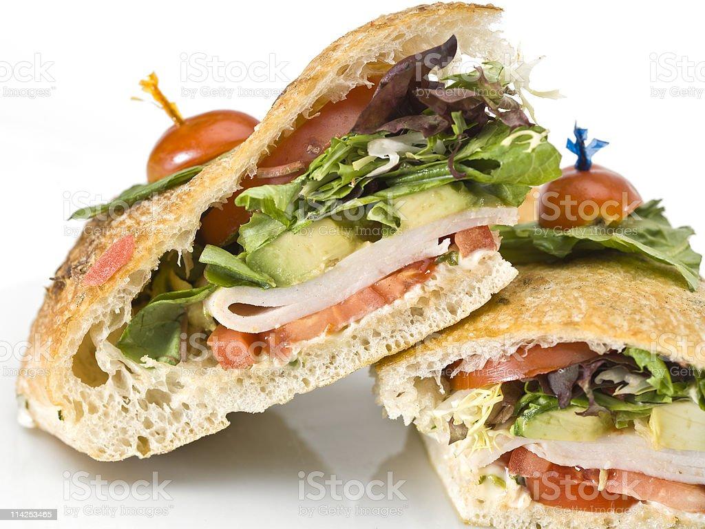 Turkey and Avocado Ciabatta Sandwich stock photo
