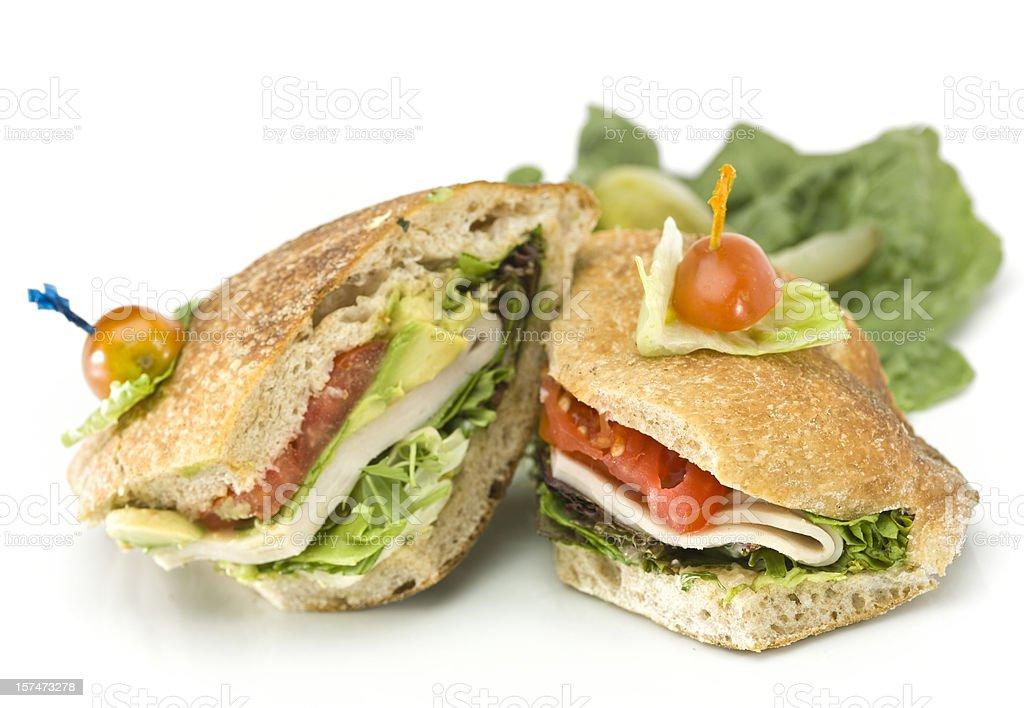 Turkey and Avocado Ciabatta Sandwich royalty-free stock photo