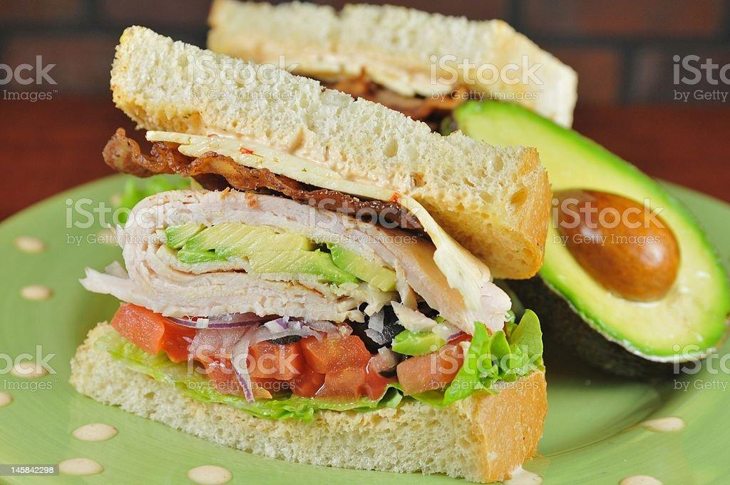 Turkey and avocado sandwich close-up stock photo
