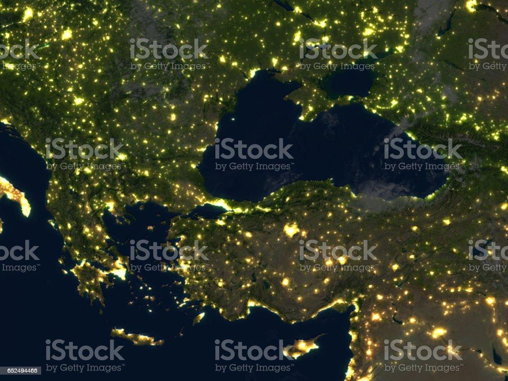 Turkey and Black sea region at night on planet Earth stock photo