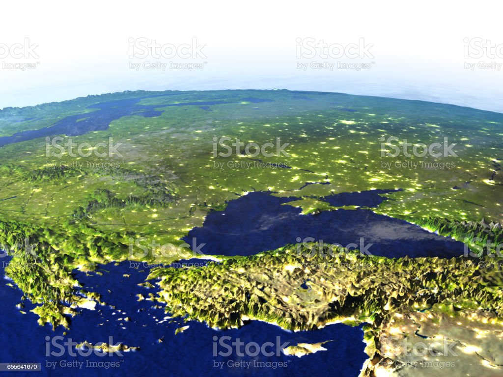 Turkey and Black sea region at night on realistic model of Earth stock photo