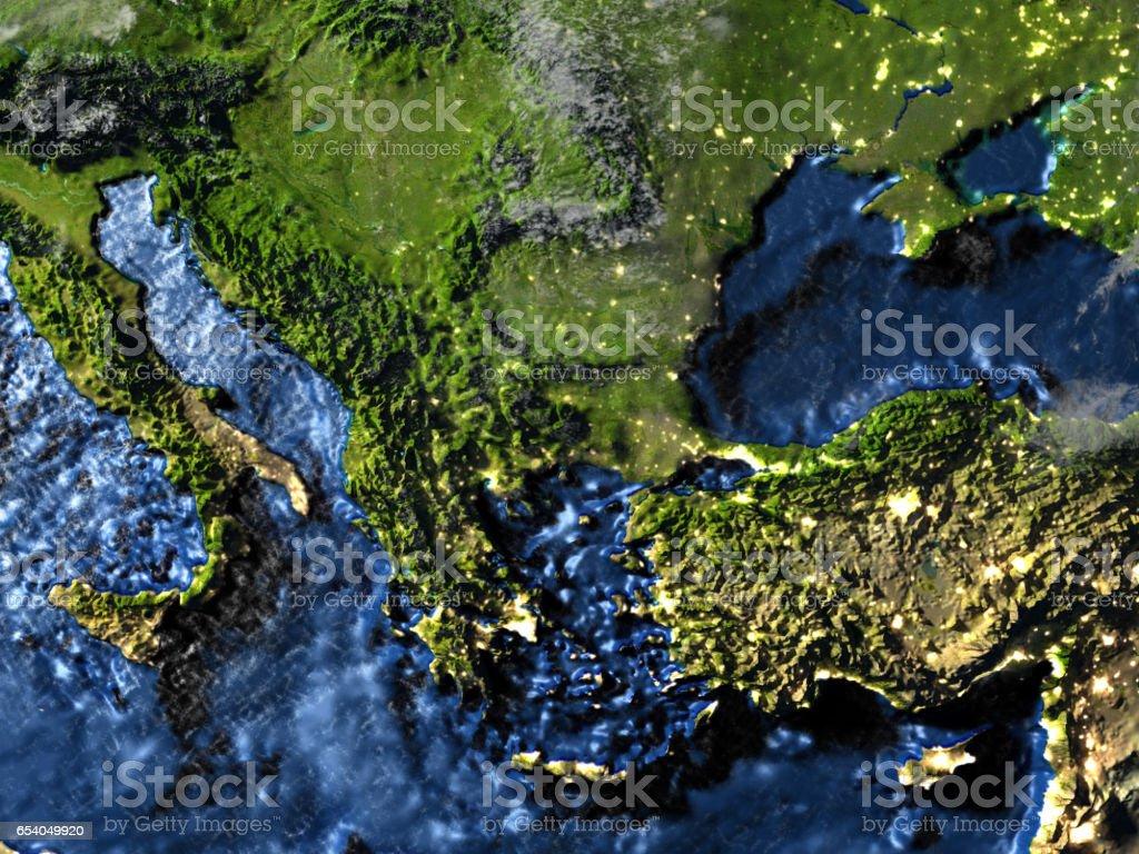 Turkey and Black sea region on Earth at night - visible ocean floor stock photo