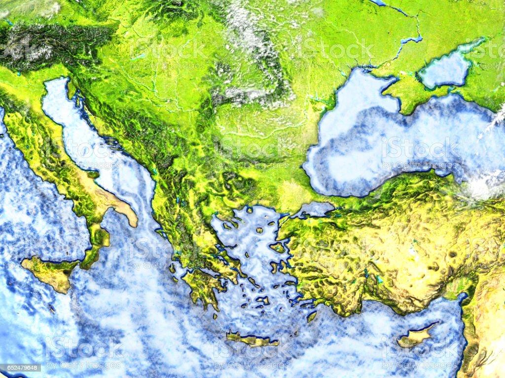 Turkey and Black sea region on Earth - visible ocean floor stock photo