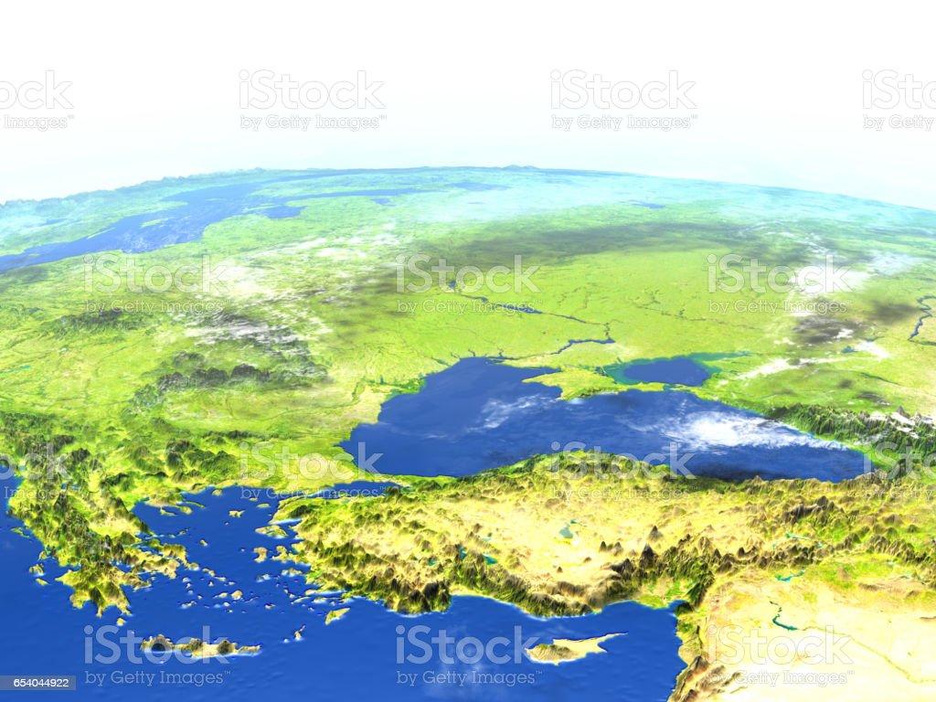 Turkey and Black sea region on planet Earth stock photo