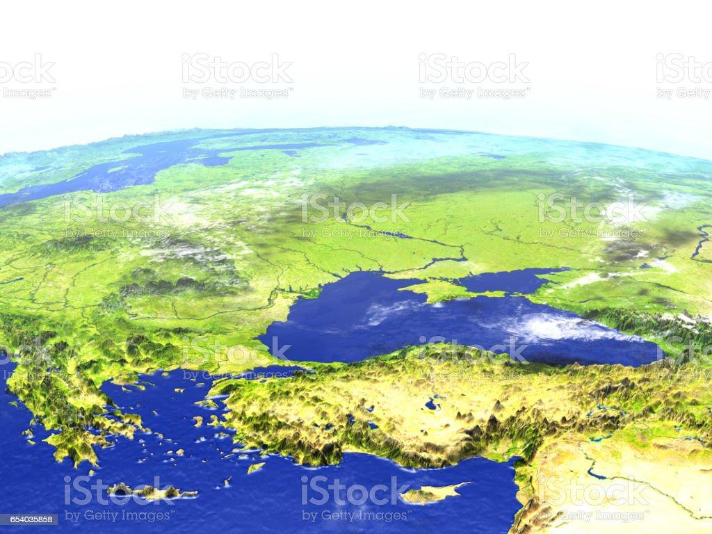 Turkey and Black sea region on realistic model of Earth stock photo