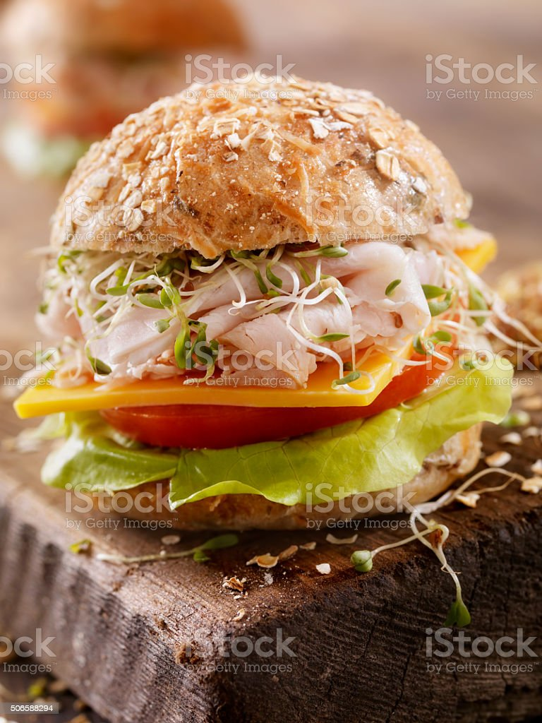 Turkey and Cheese Sandwich on a Rustic Cutting Board stock photo