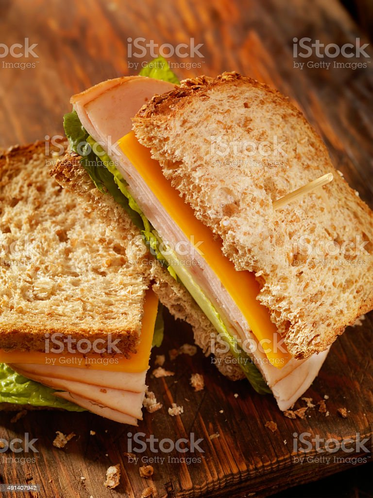 Turkey and Cheese Sandwich stock photo
