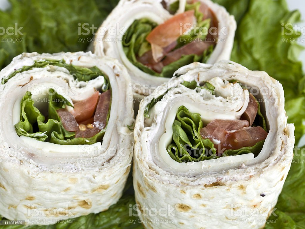 Turkey and cheese wrap sandwich royalty-free stock photo