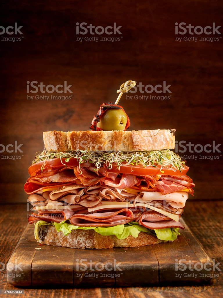 Turkey and Ham Deli Sandwich stock photo