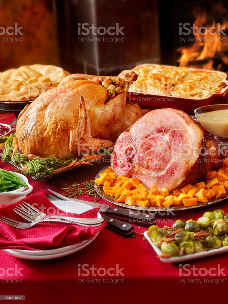 Turkey and Ham Dinner with Stuffing and All the Fixings stock photo